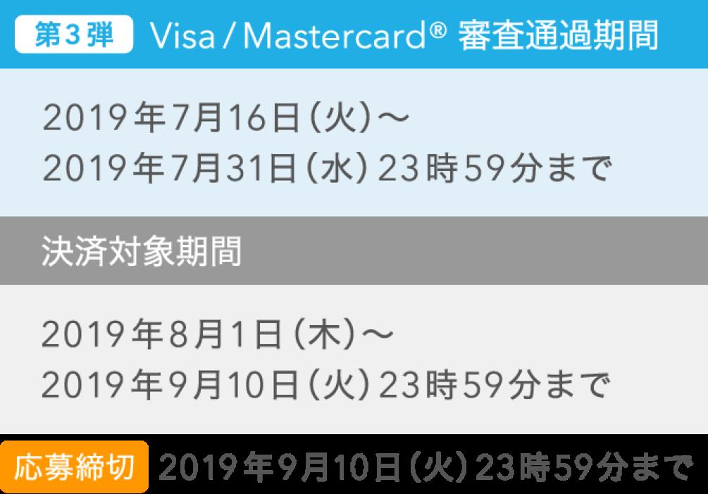 Visa/Mastercard® 審査通過期間 決済対象期間3