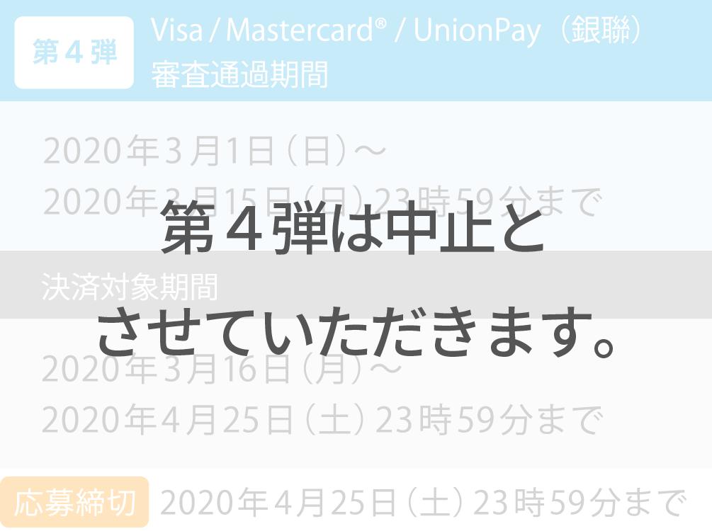 Visa/Mastercard®/UnionPay(銀聯) 審査通過期間 決済対象期間4