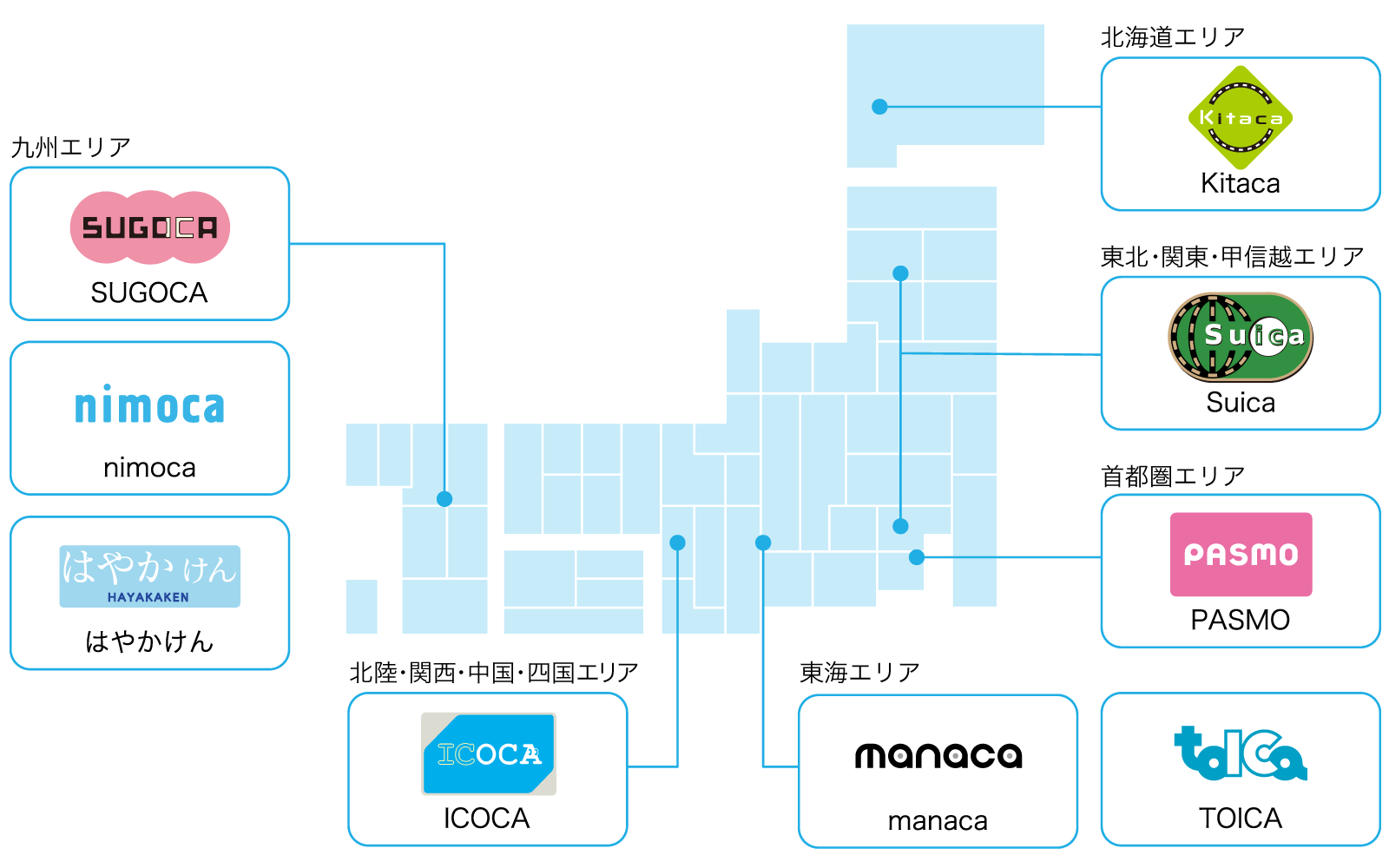 交通系電子マネーのエリアマップ